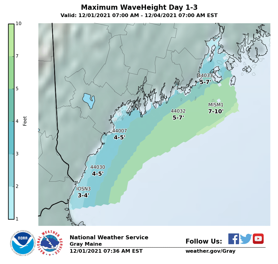 3 Day Max Wave Height for Southern Maine and New Hampshire
