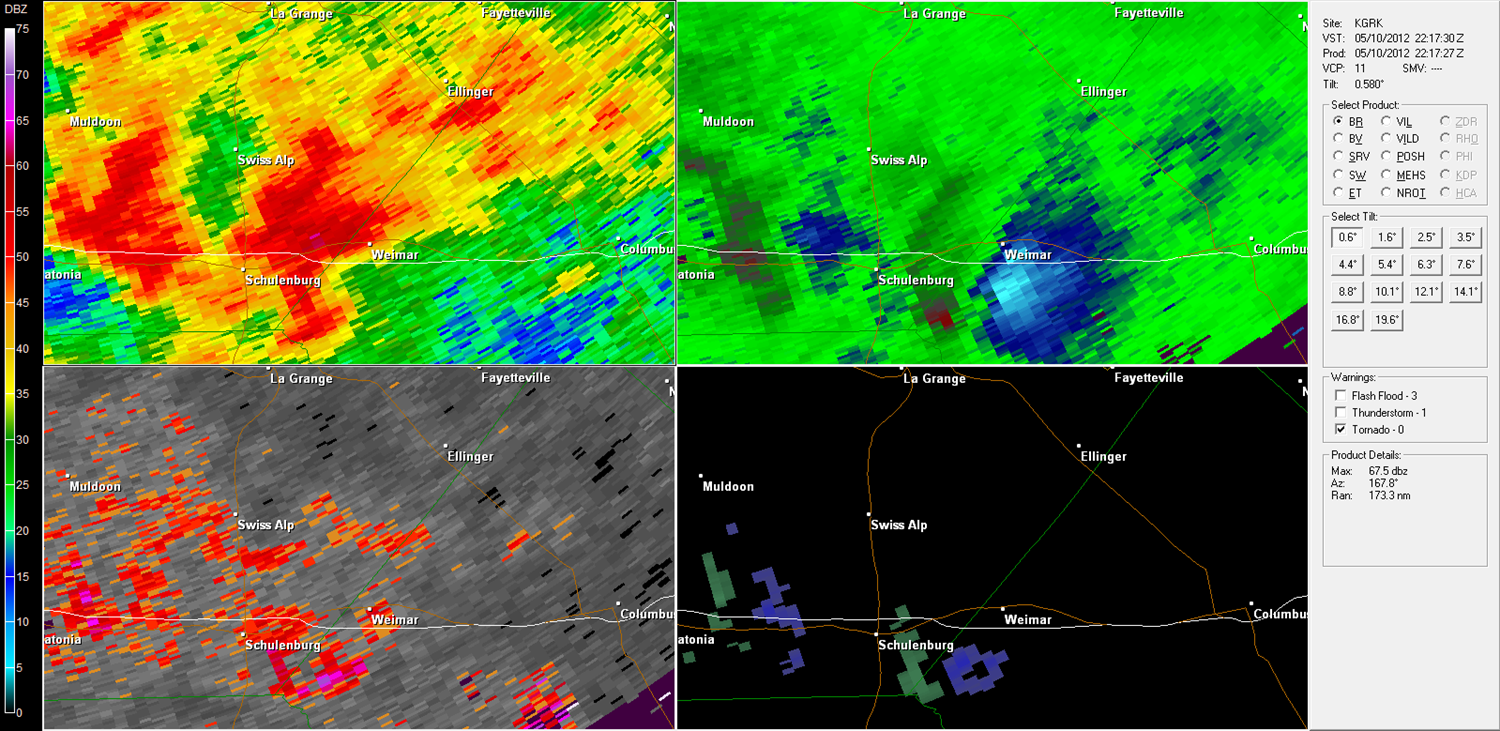 Weimar Tornado radar imagery from KGRK at 5:17 PM