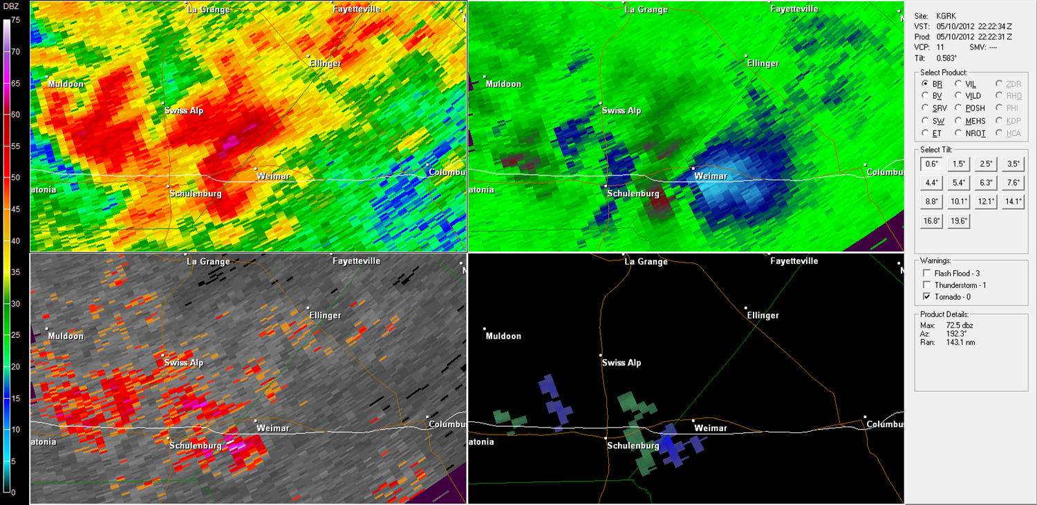 Weimar Tornado radar imagery from KGRK at 5:22 PM