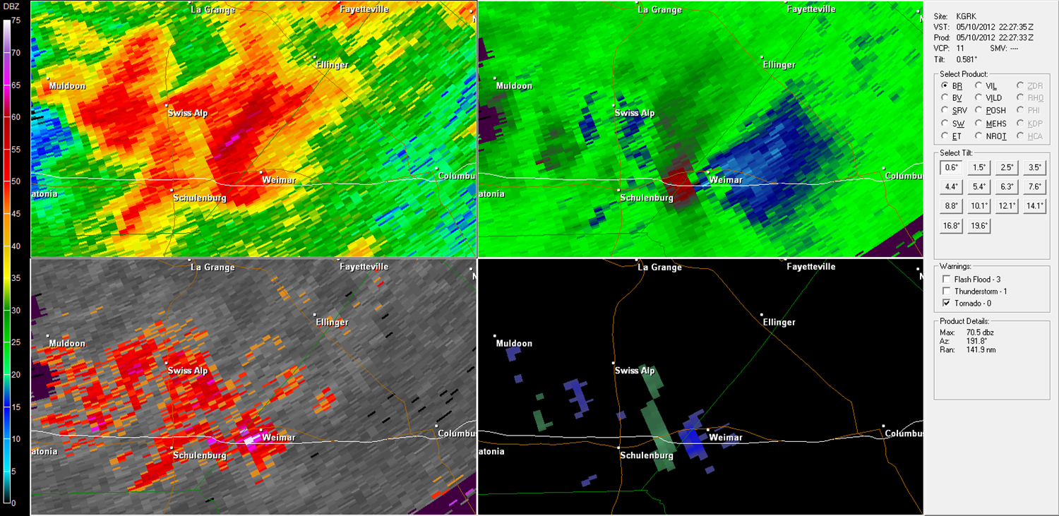Weimar Tornado radar imagery from KGRK at 5:27 PM