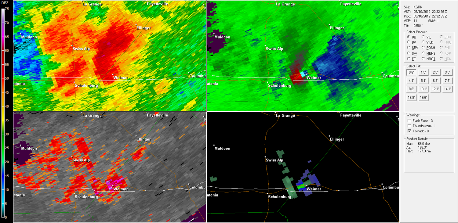 Weimar Tornado radar imagery from KGRK at 5:32 PM