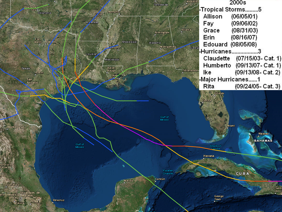 Upper Texas Coast Tropical Cyclones In The 2000s