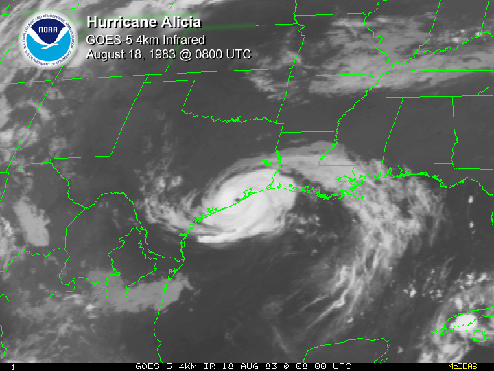 Upper Texas Coast Tropical Cyclones In The 1980s