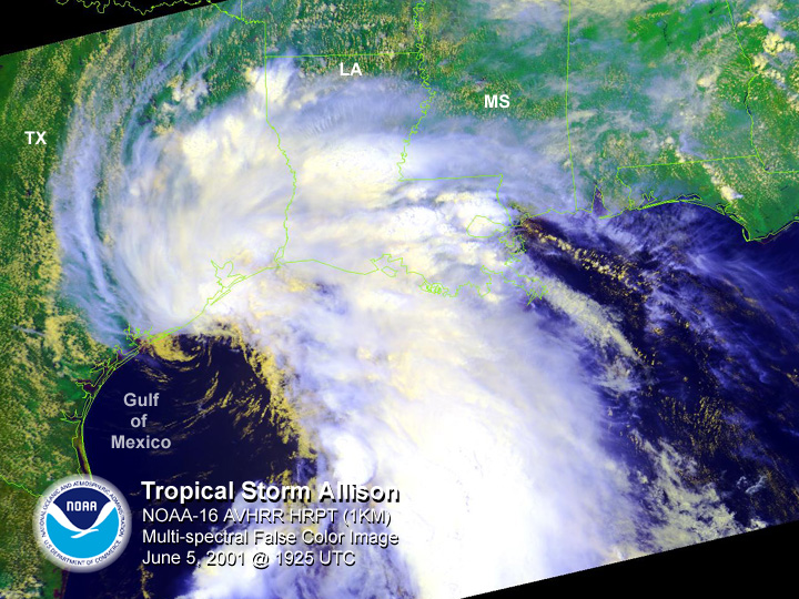 NOAA satellite image of Tropical Storm Allison taken at 2:25 PM CDT on June 5, 2001.