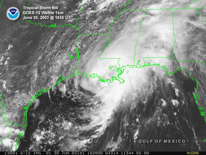 NOAA satellite image of Tropical Storm Bill taken at 1:25 PM CDT on Monday, June 30, 2003.
