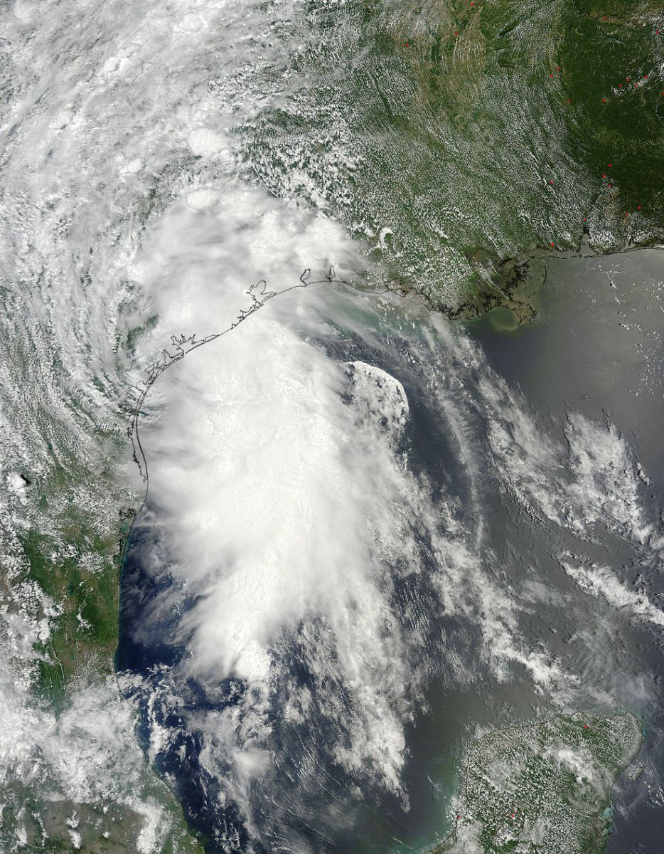MODIS instrument aboard NASA's Terra satellite captured this visible image of Tropical Storm Bill making landfall near Matagorda Island, Texas on June 16, 2015 at 16:45 UTC (12:45 p.m. EDT).