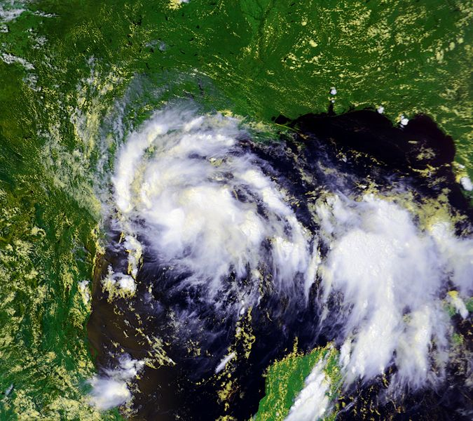 NOAA satellite image of Tropical Storm Erin taken at 2:39 PM CDT on Wednesday, August 15, 2007.