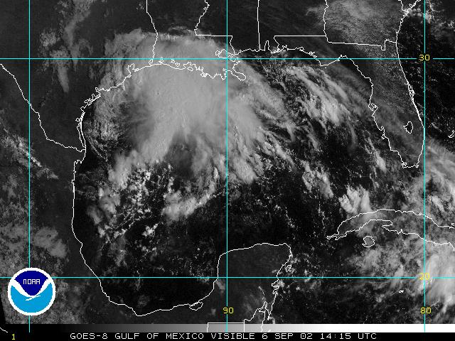 NOAA satellite image of Tropical Storm Fay taken at 9:15 AM CDT on September 6, 2002.