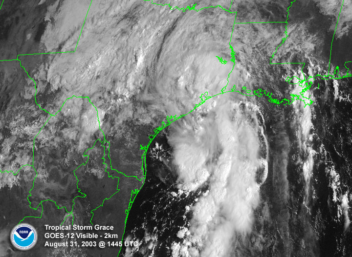 NOAA satellite image of Tropical Storm Grace taken at 9:45 AM CDT on Sunday, August 31, 2003.