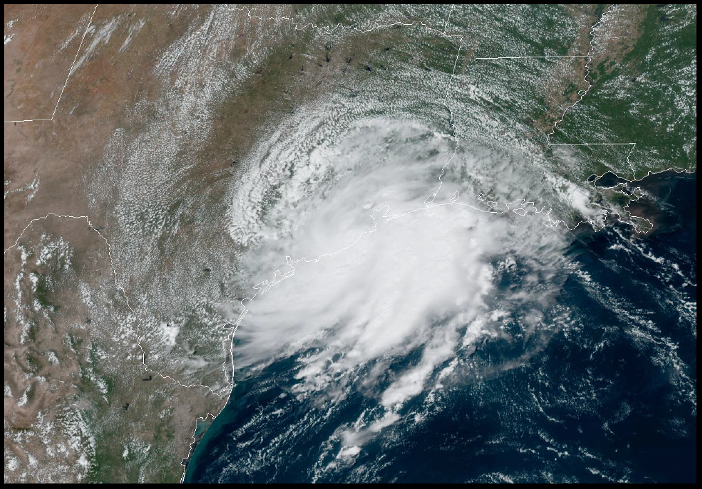 GOES-16 GEOCOLOR Visible Satellite image of Tropical Storm Imelda at 1800 UTC 17 September 2019. Image courtesy of NOAA/NESDIS/STAR