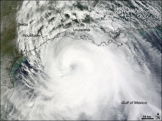 Terra satellite image of Hurricane Ike at 12:05 PM CDT on Friday, September 12, 2008 (courtesy NASA's Earth Observatory).