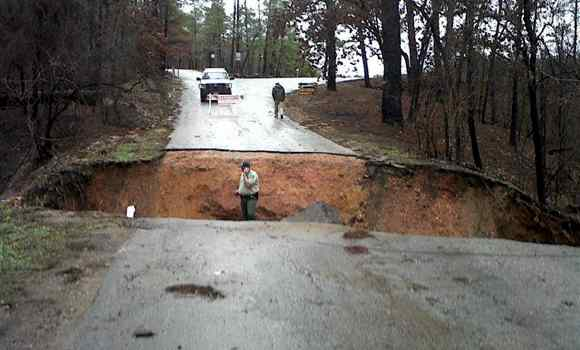 Road washout from heavy rainfall at Bastrop State Park Jan. 25, 2012.