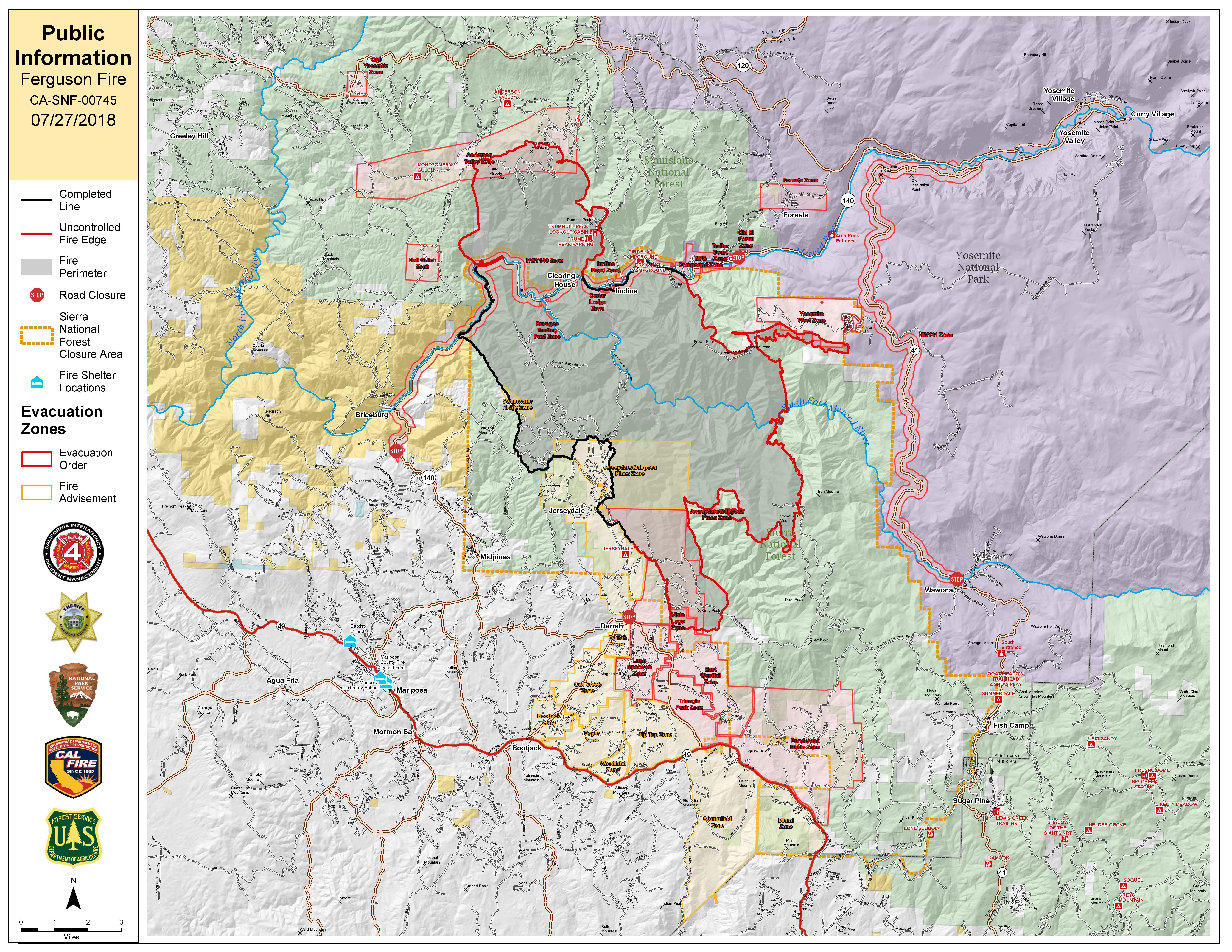 Cal Fire Map Today.Ferguson Wildfire Mariposa County Ca