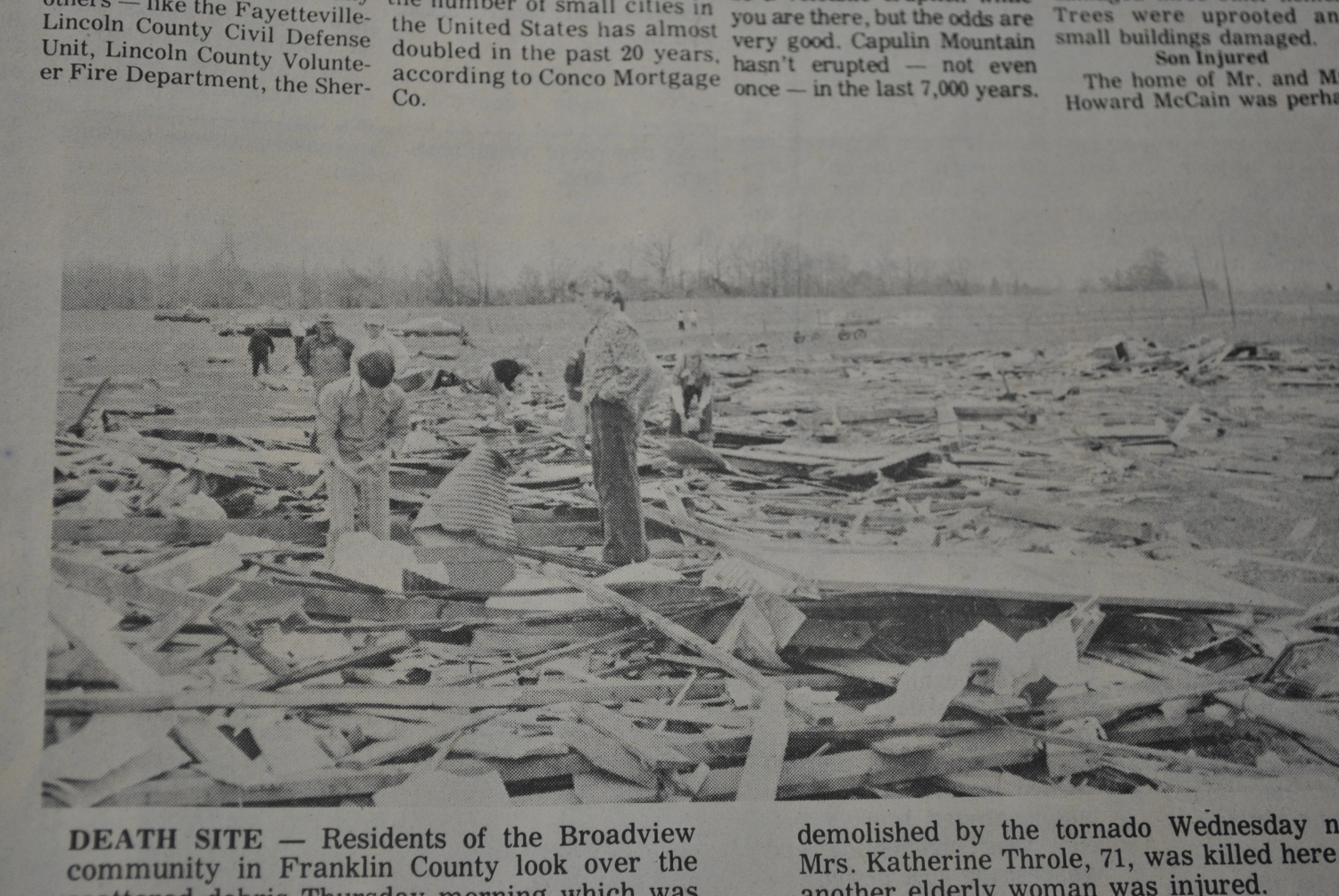 Franklin County TN: Damage Pictures from April 3-4th, 1974