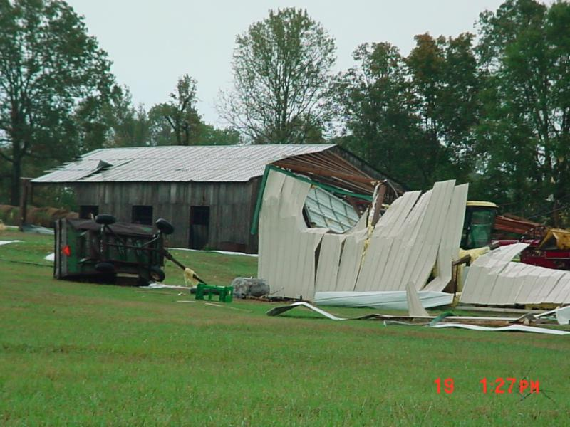 Tornado damage along County Road 6
