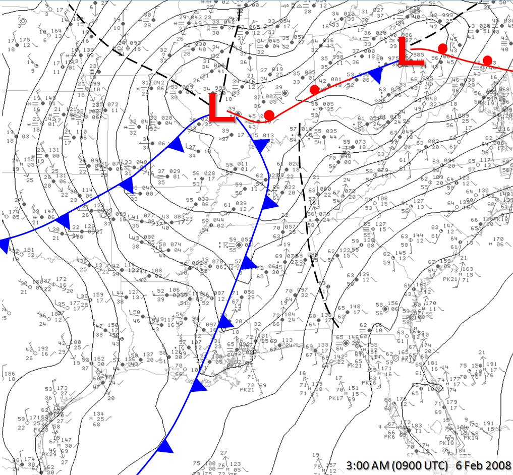 an overview of the weather setup for february th  - the surface map at  am cst showed a cold front moving into northwestalabama along with  degree dew points and a weak trough of lowpressure along the