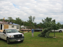 The tornado caused mostly minor damage to a few homes and downed some large trees.