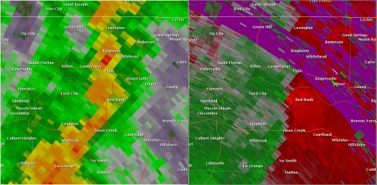 This National Weather Service radar from 12:46pm                        showed strong rotation over northeastern Colbert County between                        Leighton and Rogersville. This was the approximate time the                        tornado was at EF-2 strength. The base reflectivity product                        in the left panel shows rainfall intensity. The storm relative                        velocity product in the right panel shows winds toward (in                        green) and away (in red) from the radar at Columbus Air Force                        Base, MS.