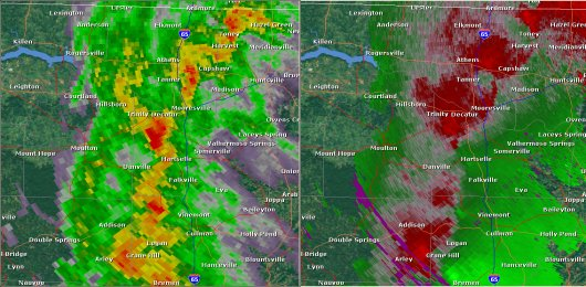 This National Weather Service radar from noon                        showed strong rotation northwest of Florence near Central                        Heights. The base reflectivity product in the left panel shows                        rainfall intensity. The storm relative velocity product in                        the right panel shows winds toward (in green) and away (in                        red) from the radar at Columbus Air Force Base, MS.