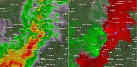 This National Weather Service radar from 2:14pm                        showed strong rotation over western Cullman County just south                        of Crane Hill. This was around the time the second tornado                        touched down. The base reflectivity product in the left panel                        shows rainfall intensity. The storm relative velocity product                        in the right panel shows winds toward (in green) and away                        (in red) from the radar in Shelby County, AL.