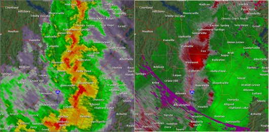 This National Weather Service radar from 2:50pm                        showed strong rotation over northeastern Cullman County between                        Cullman and Baileyton. This was around the time the third tornado touched down. The base reflectivity product                        in the left panel shows rainfall intensity. The storm relative                        velocity product in the right panel shows winds toward (in                        green) and away (in red) from the radar in Hytop, AL.