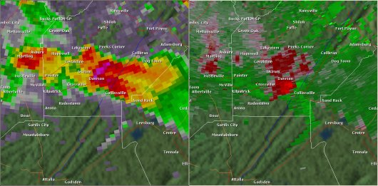 This National Weather Service radar image from 4:48pm shows a tight velocity couplet just northwest of Collinsville in southern DeKalb County. The base reflectivity product in the left panel shows rainfall intensity. The storm relative velocity product in the right panel shows winds toward (in green) and away (in red) from the radar in Hytop, AL.