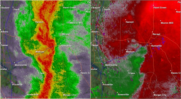This National Weather Service radar image from 8:06pm shows weak rotation in the western part of Huntsville along I-565. The base reflectivity product in the left panel shows rainfall intensity. The storm relative velocity product in the right panel shows winds toward (in green) and away (in red) from the radar at Hytop, AL.