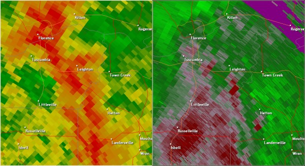 This National Weather Service radar image from 3:48pm shows a broad area of circulation south of Leighton near the Whiteoak community. This tornado was likely the result of a non-descending mesocyclone. This means the circulation developed closer to the ground than most storms. Because the Columbus AFB radar is nearly 70 miles away, the stronger circulation occurred below the radar beam. This is a perfect example of why storm spotters are an integral part of National Weather Service warning operations. The base reflectivity product in the left panel shows rainfall intensity. The storm relative velocity product in the right panel shows winds toward (in green) and away (in red) from the radar near Columbus AFB, MS.