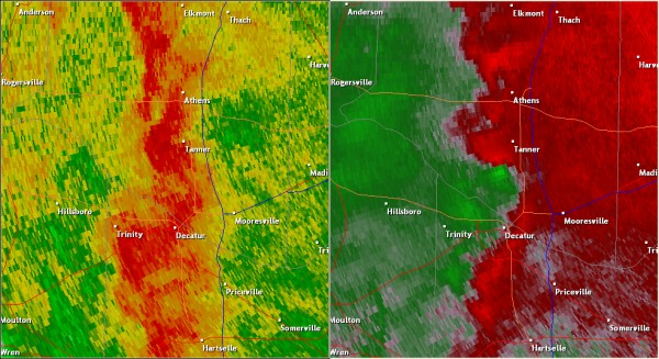 This National Weather Service radar image from 4:35pm shows an area of circulation south and southwest of Tanner. The base reflectivity product in the left panel shows rainfall intensity. The storm relative velocity product in the right panel shows winds toward (in green) and away (in red) from the radar at Hytop, AL.