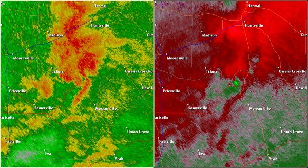This National Weather Service radar image from 5:27pm shows an tight velocity couplet approaching the Lacey's Spring community. The base reflectivity product in the left panel shows rainfall intensity. The storm relative velocity product in the right panel shows winds toward (in green) and away (in red) from the radar at Hytop, AL.