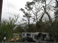This mobile home was split in half by a large tree that fell on it.