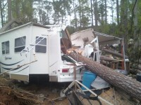 This camper trailer was destroyed by a fallen tree at Jackson County Park. (Courtesy Holly Britton)