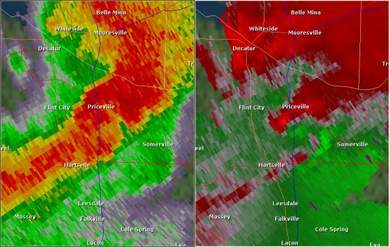 This National Weather Service radar image from 7:01pm shows rotation south of Priceville over I-65. The base reflectivity product in the left panel shows rainfall intensity. The storm relative velocity product in the right panel shows winds toward (in green) and away (in red) from the radar at Hytop.