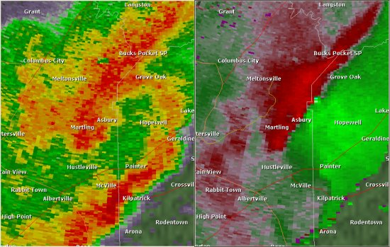 This National Weather Service radar image from 8:40pm shows a broad area of circulation along the Marshall/DeKalb County border. There were also smaller scale circulations embedded in this larger-scale circulation. The base reflectivity product in the left panel shows rainfall intensity. The storm relative velocity product in the right panel shows winds toward (in green) and away (in red) from the radar at Hytop.