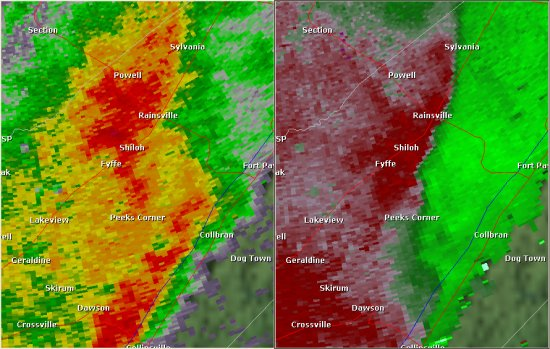 This National Weather Service radar image from 9:03pm shows an area of rotation east of Fyffe near the Guest community. The base reflectivity product in the left panel shows rainfall intensity. The storm relative velocity product in the right panel shows winds toward (in green) and away (in red) from the radar at Hytop.