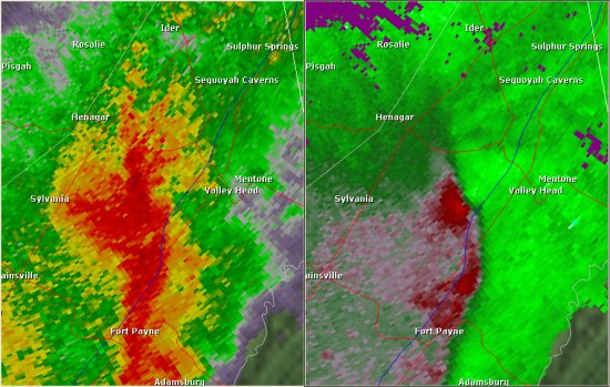 This National Weather Service radar image from 9:17pm shows a velocity couplet west of Hammondville near the eastern extent of Sand Mountain. The base reflectivity product in the left panel shows rainfall intensity. The storm relative velocity product in the right panel shows winds toward (in green) and away (in red) from the radar at Hytop.