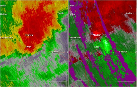 This National Weather Service radar image from 6:23pm shows an area of strong rotation just southeast of Moulton. The base reflectivity product in the left panel shows rainfall intensity. The storm relative velocity product in the right panel shows winds toward (in green) and away (in red) from the radar at Hytop.