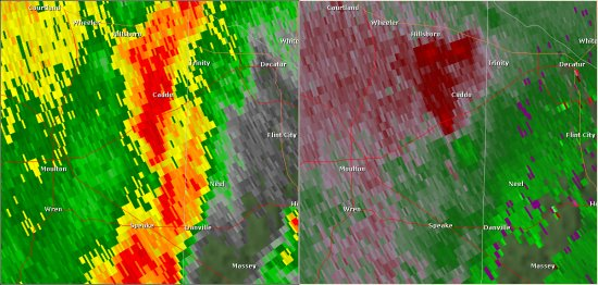 This National Weather Service radar image from 8:24am shows rotation in eastern Lawrence County south of the Midway-Caddo area. This radar image shows the storm shortly before the tornado touched down. The base reflectivity product in the left panel shows rainfall intensity. The storm relative velocity product in the right panel shows winds toward (in green) and away (in red) from the radar at Hytop, AL.