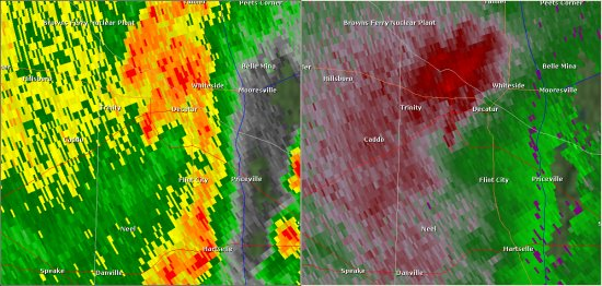 This National Weather Service radar image from 8:38am shows rotation in the Decatur area. The base reflectivity product in the left panel shows rainfall intensity. The storm relative velocity product in the right panel shows winds toward (in green) and away (in red) from the radar at Hytop, AL.
