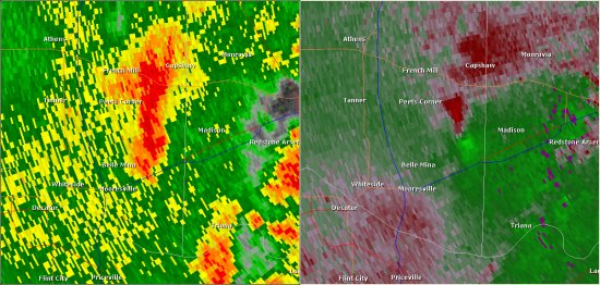 This National Weather Service radar image from 8:57am shows strong rotation in eastern Limestone County approaching the west side of Madison. This radar image shows the storm around the time the tornado touched down. The base reflectivity product in the left panel shows rainfall intensity. The storm relative velocity product in the right panel shows winds toward (in green) and away (in red) from the radar at Hytop, AL.