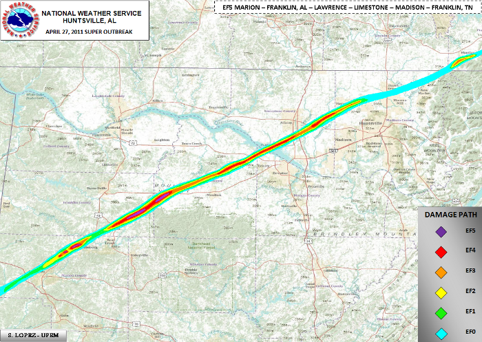 Tornado track with EF scale intensity