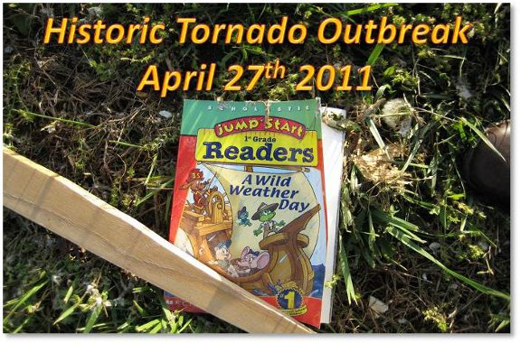 "Title Header -- A child's educational book strewn amongst the debris bearing the words ""Wild Weather Day"" tells the tale."