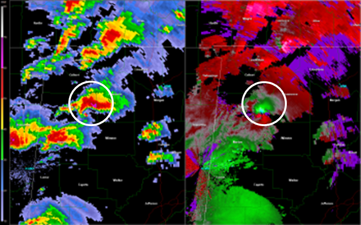 GWX 0.5 degree reflectivity (right) and storm relative velocity (left) loop of the EF-5 tornado track -- 3:15 to 4:33 CDT April 27 2011