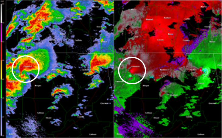 HTX 0.5 degree reflectivity (left) and storm relative velocity (right) loop of the EF-5 tornado track -- 4:16 to 5:11 CDT April 27 2011