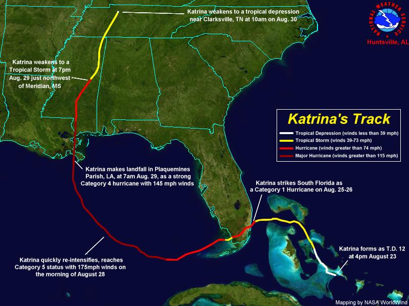 Hurricane Katrina Path Map Hurricane Katrina Summary