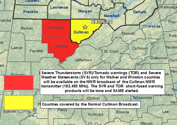 Cullman, Alabama NOAA Weather Radio coverage area