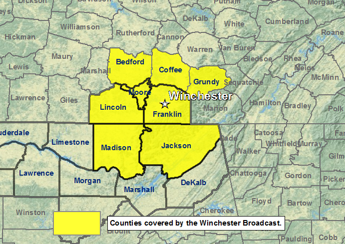 Winchester, Tennessee NOAA Weather Radio coverage area