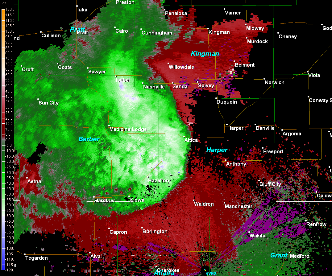 Kansas harper county attica - Base Velocity Image Showing The Possible 75 To 80 Knot Winds Bright Green Area Moving Into Attica Kansas At 6 50pm On August 12th 2011