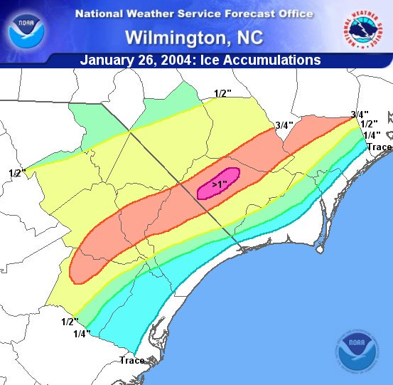 January 26, 2004: Ice Accumulation Graphic