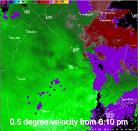 0.5 degree velocity from 6:10 pm
